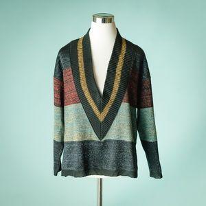 Anthro Moth S Amalthea Metallic Stripe Sweater